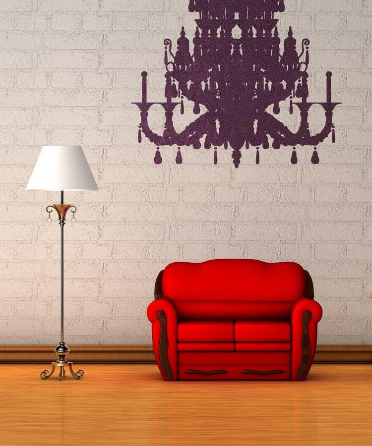 Sofá rojo con la lámpara y la silueta de la lámpara stock de ilustración