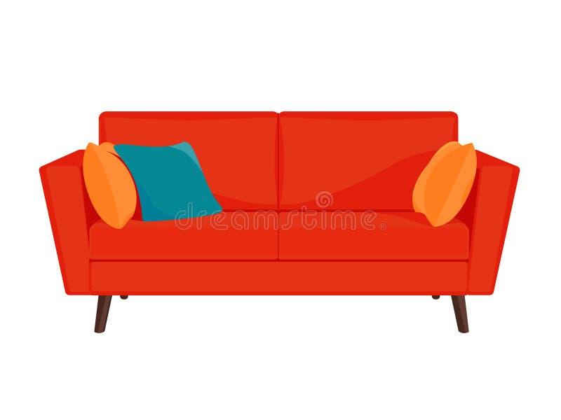 Sofá rojo con las almohadas amarillas y azules stock de ilustración