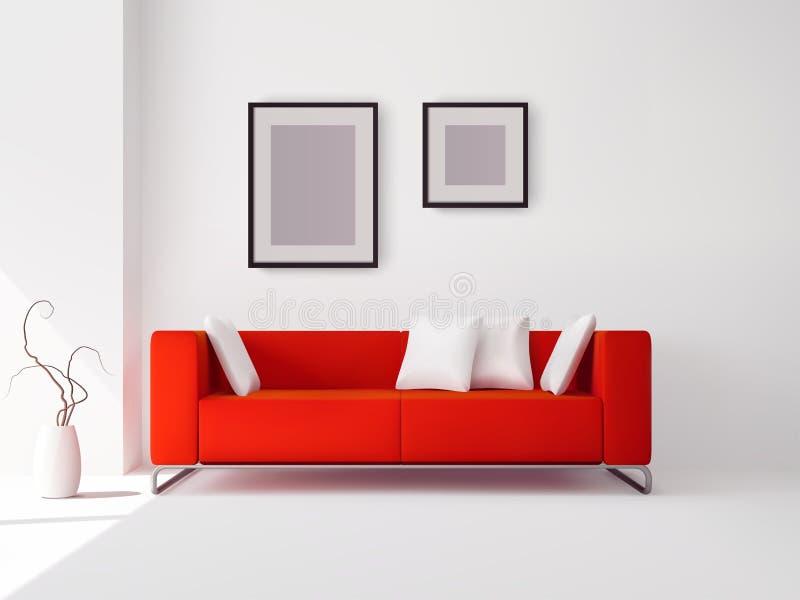 Sofá rojo con las almohadas y los marcos libre illustration