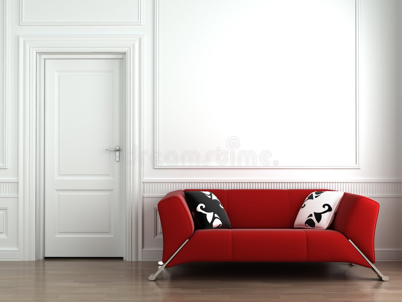 Sofá rojo en la pared interior blanca stock de ilustración