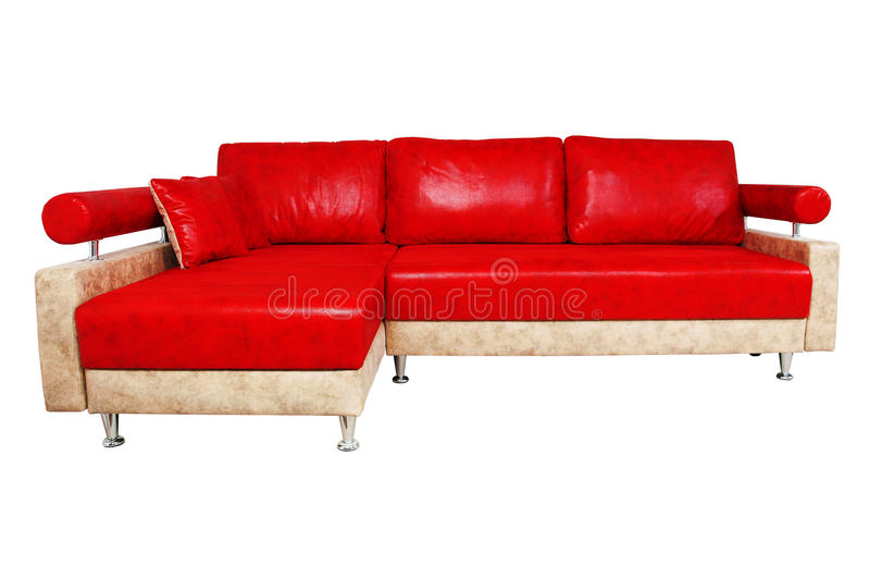 Sofá rojo muy agradable aislado en blanco imágenes de archivo libres de regalías