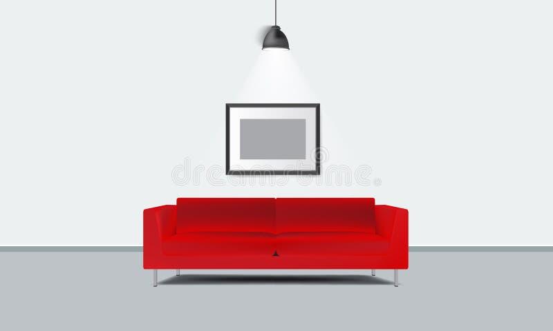 Sofá rojo realista con el marco de la foto y el vector ligero de la lámpara stock de ilustración