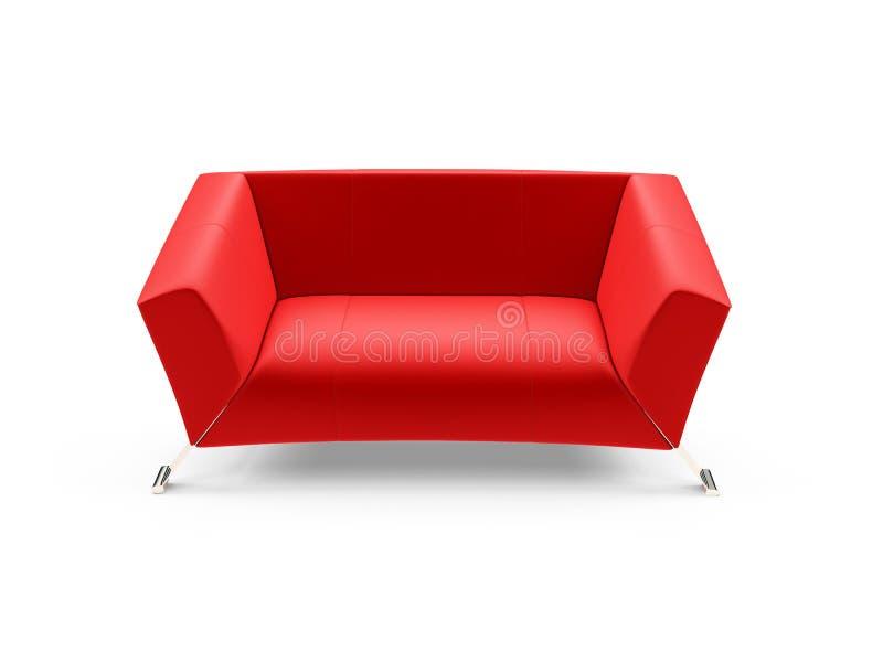 Sofá rojo sobre blanco ilustración del vector