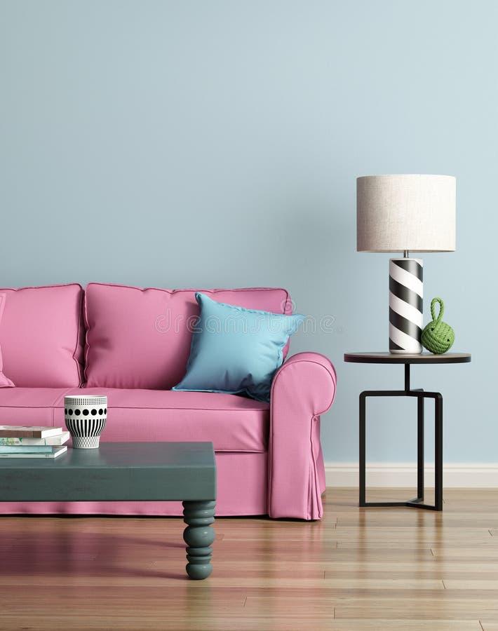 Sofá rosado moderno en un interior de lujo azul claro stock de ilustración