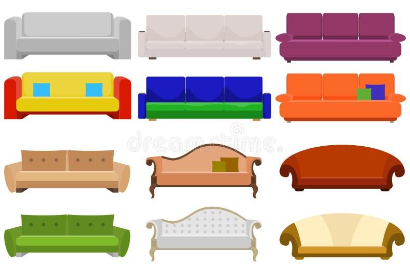Sofá, um grande grupo de sofás Mobília amortecida ilustração royalty free