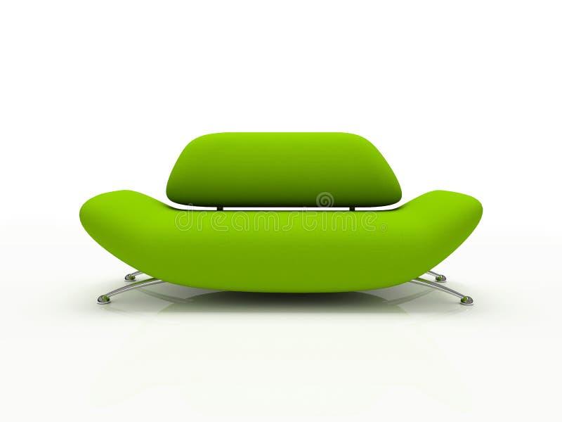 Sofá verde en el fondo blanco aislado ilustración del vector