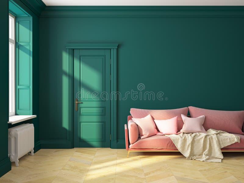 Sofá verde interior clásico stock de ilustración
