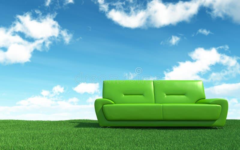 Sofá verde no campo de grama ilustração royalty free