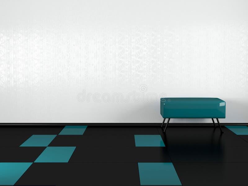Sofá verde no quarto branco vazio ilustração royalty free