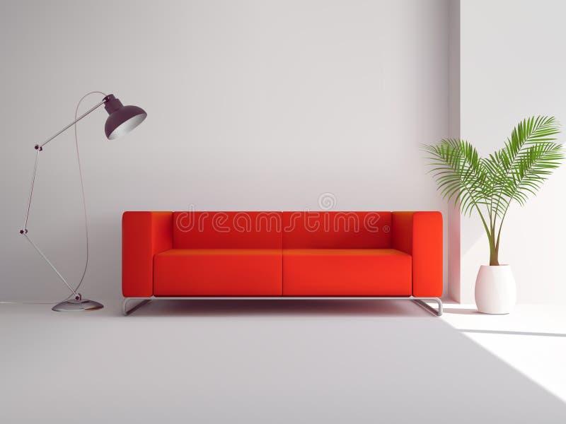Sofá vermelho com lâmpada e palmeira ilustração royalty free