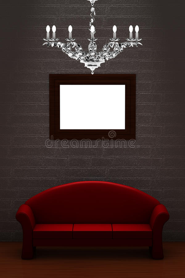 Sofá vermelho com o candelabro vazio do frame e do luxo ilustração do vetor