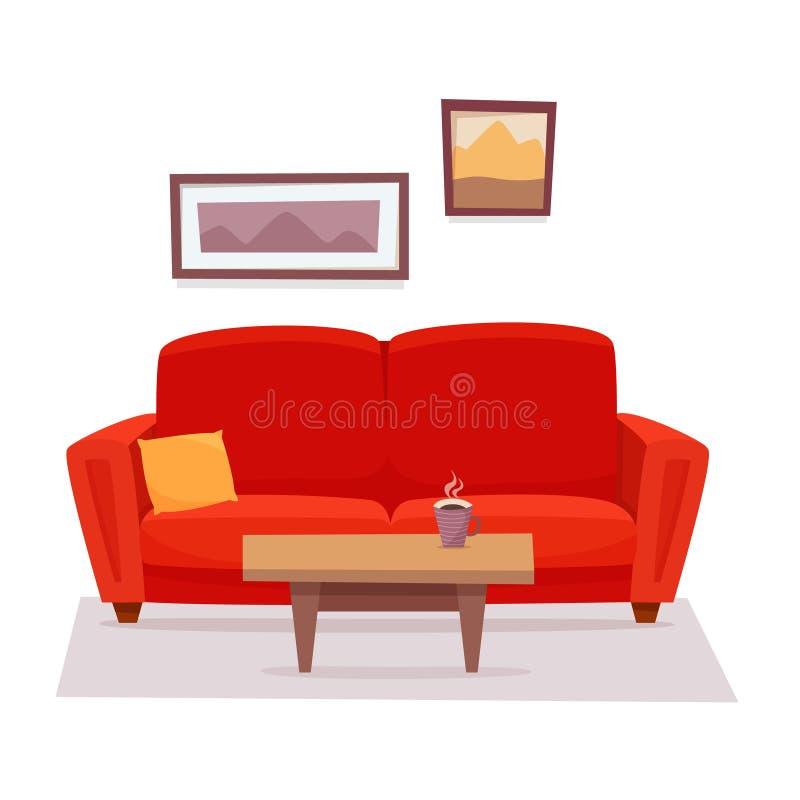 Sofá vermelho com tabela e imagens na sala de visitas ilustração stock