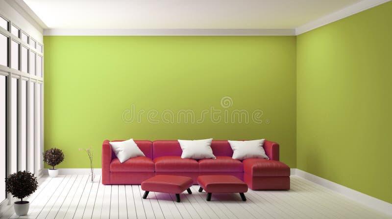 Sofá vermelho do conceito de projeto no interior moderno da parede amarela rendi??o 3d ilustração do vetor