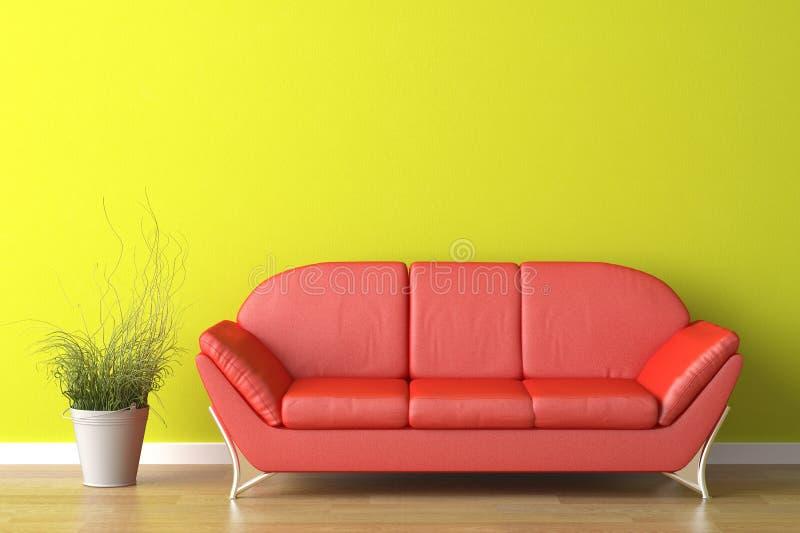 Sofá vermelho do projeto interior no verde