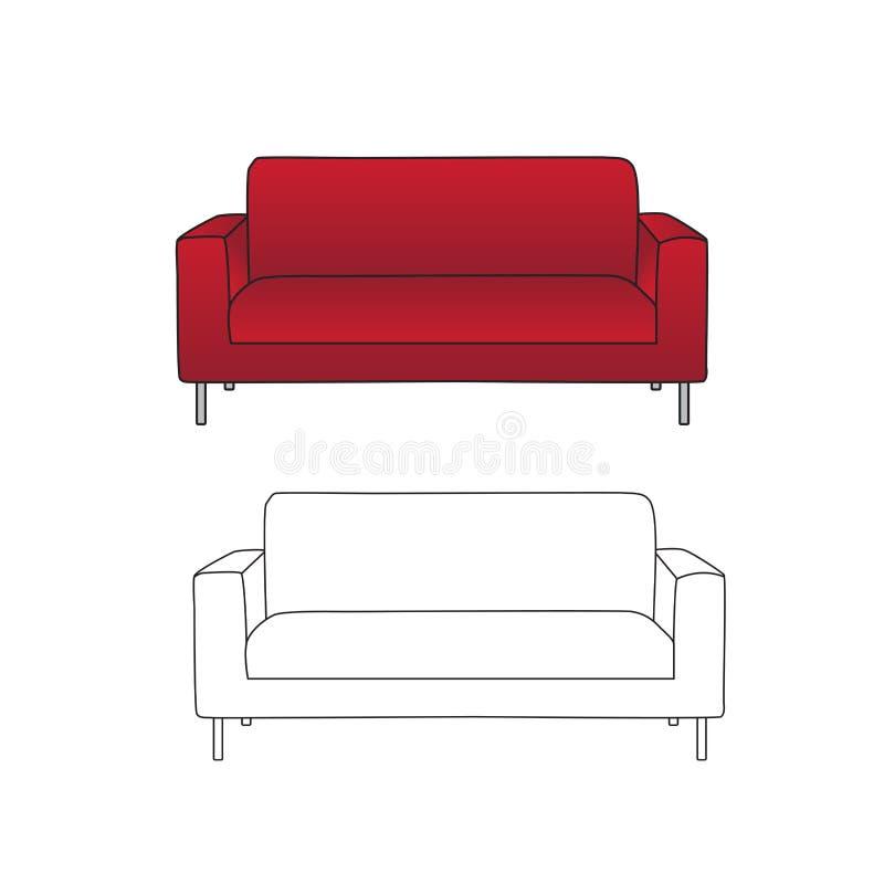 Sofá vermelho e esboço isolados no fundo branco Ilustração do vetor ilustração stock