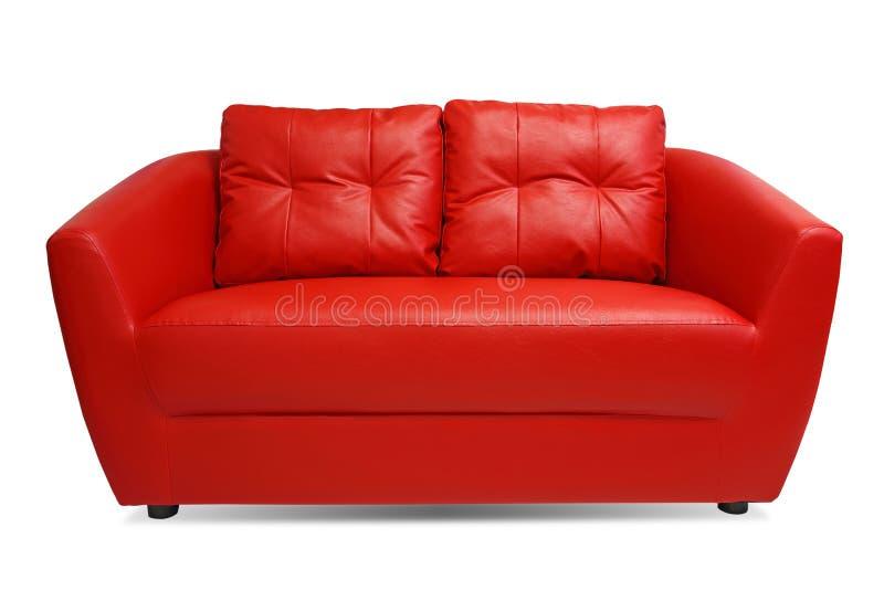 Sofá vermelho isolado no fundo branco foto de stock royalty free