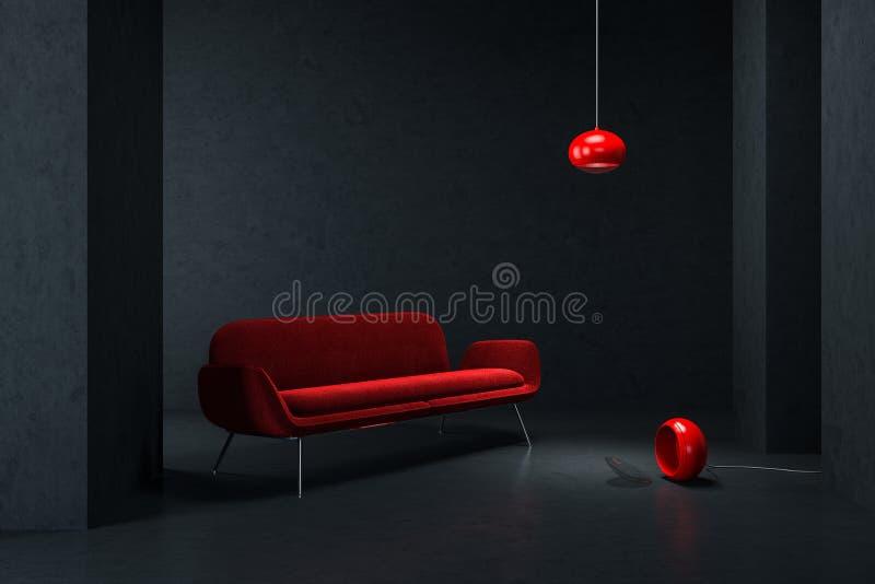 Sofá vermelho na sala de visitas preta vazia ilustração stock