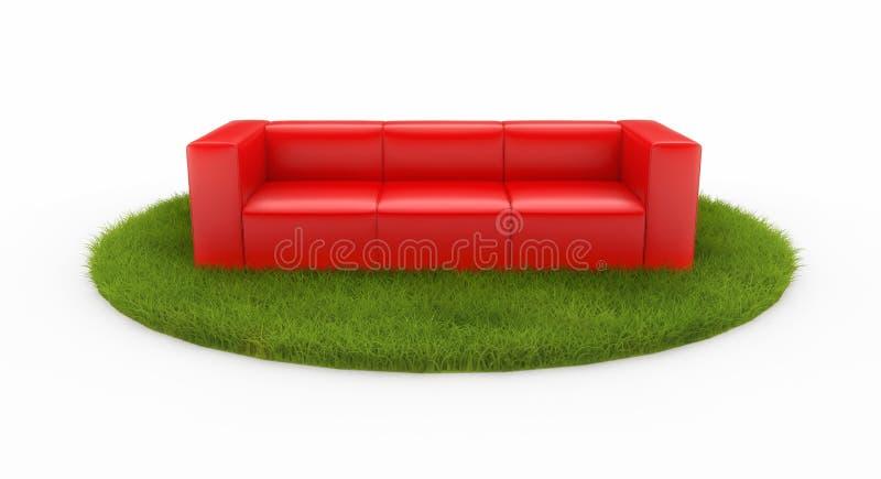 Sofá vermelho no campo verde ilustração royalty free