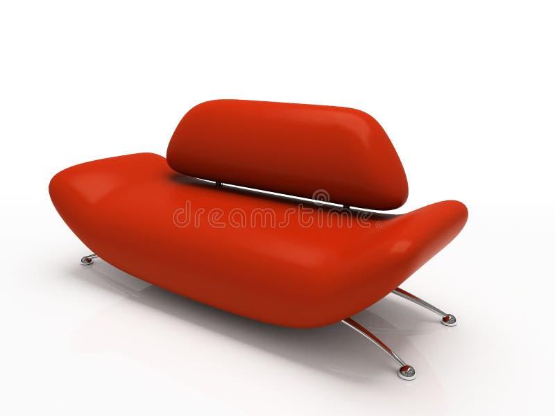 Sofá vermelho no fundo branco ilustração stock