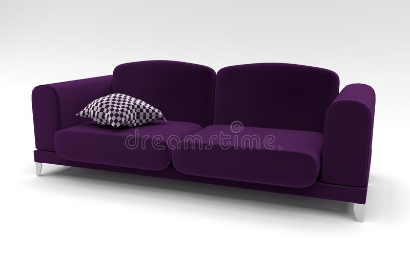 Sofá violeta com descanso do tabuleiro de damas fotos de stock