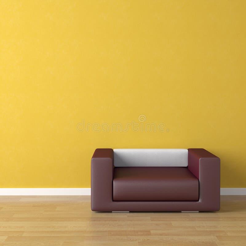 Sofá violeta do projeto interior sobre
