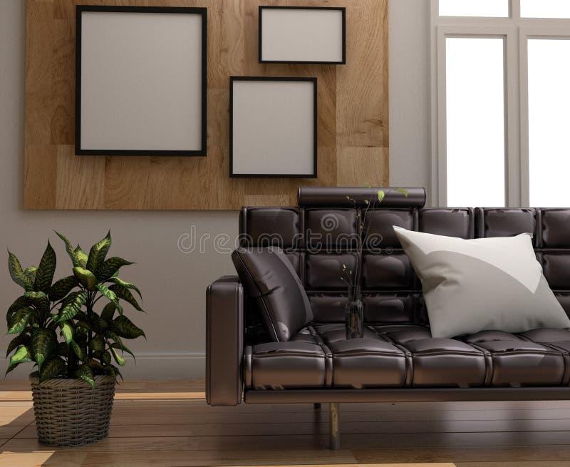 Sofá y almohada - diseño interior del sitio - estilo escandinavo del sitio, piso de madera y marco en fondo de madera de la pared ilustración del vector