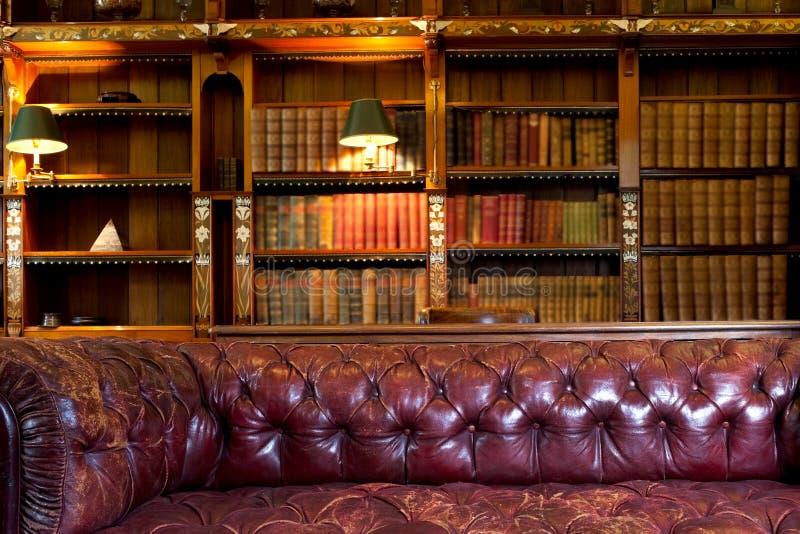 Sofá y biblioteca imagenes de archivo