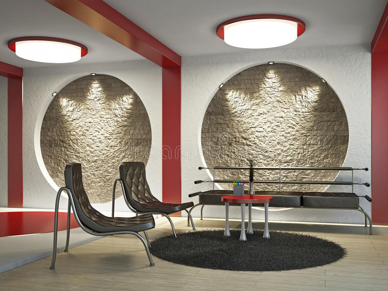 Sofá y dos sillas stock de ilustración
