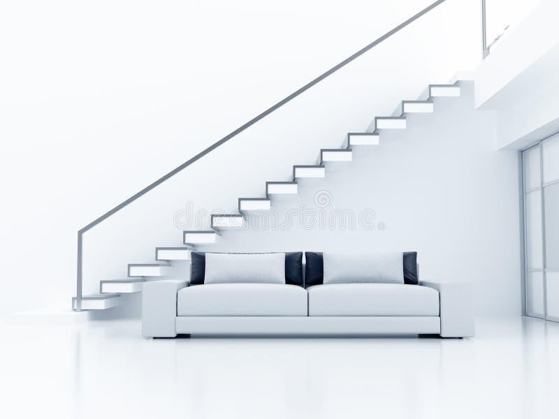 Sofá y escalera ilustración del vector