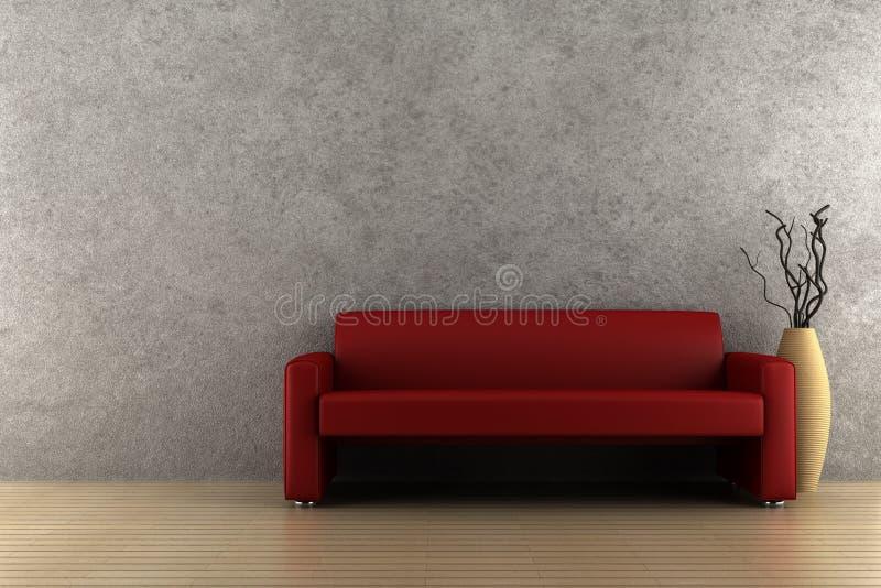 Sofá y florero rojos con madera seca imagen de archivo libre de regalías