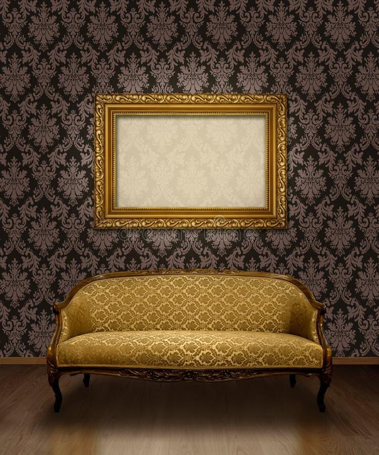 Sofá y marco clásicos stock de ilustración