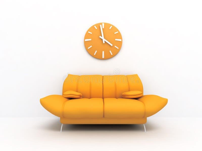 Sofá y reloj ilustración del vector