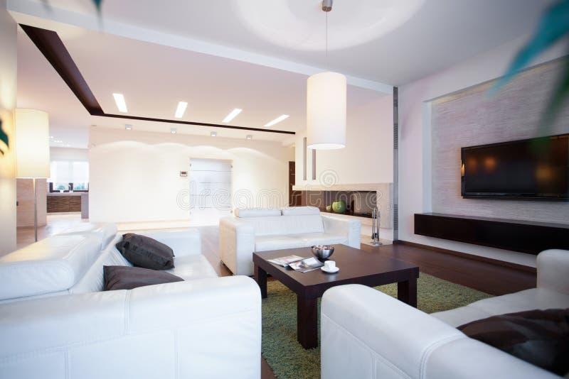 Sofás e mesa de centro confortáveis fotos de stock