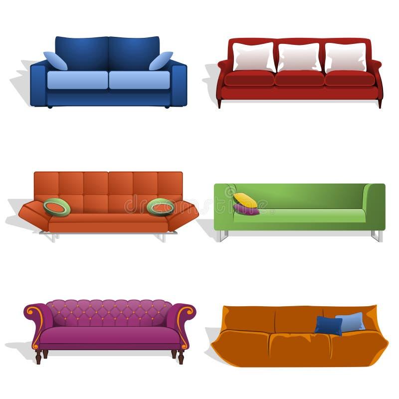 Sofás em cores e em projetos diferentes ilustração do vetor