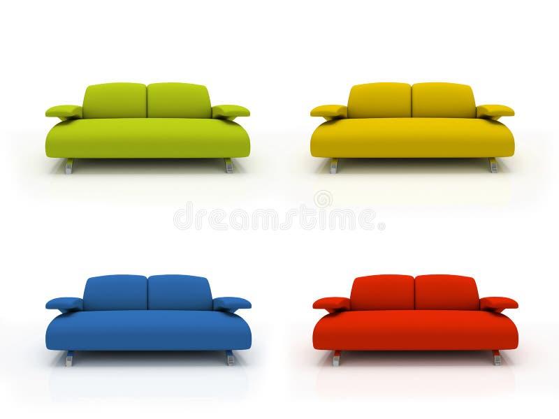 Sofás modernos coloridos stock de ilustración