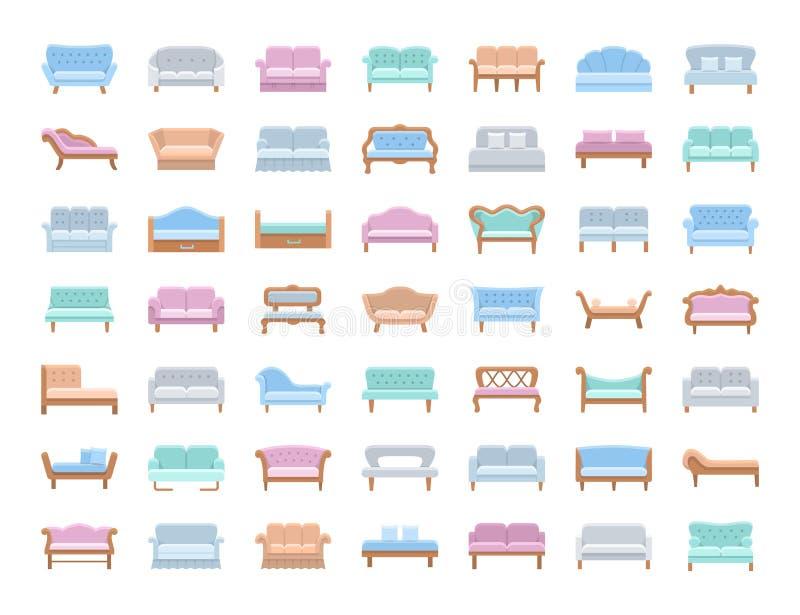 Sofás y sofás Muebles de la sala de estar y del patio Iconos del vector Franco stock de ilustración