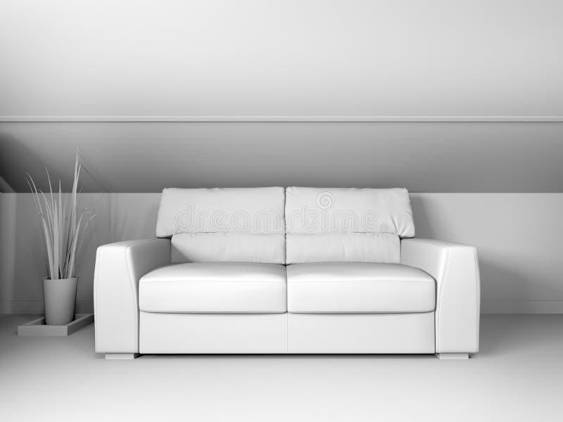Sof? branco no revestimento escuro e na parede de madeira, rendi??o 3d ilustração stock