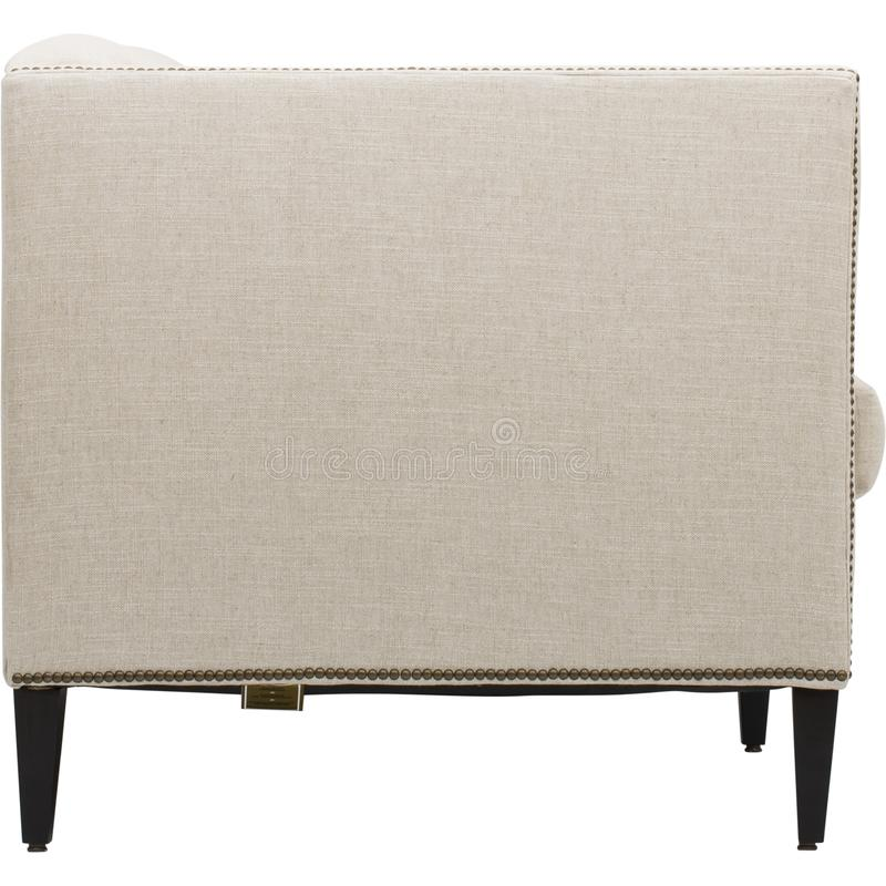 Sof? di cuoio accogliente dei sedili, un sof? moderno in tessuto grigio chiaro, 2-Seat sof?, sof? di 2 seater del cuscino della p fotografie stock libere da diritti