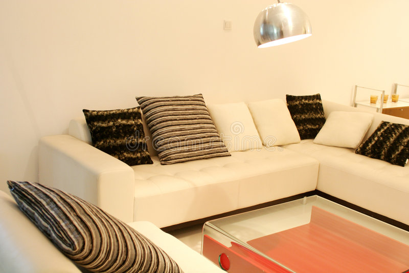 Sofa. Modern sofa in living room stock photos