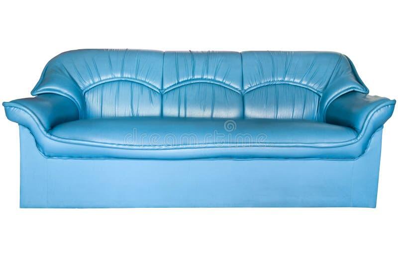 Sofa. Blue leather sofa isolated on white royalty free stock images