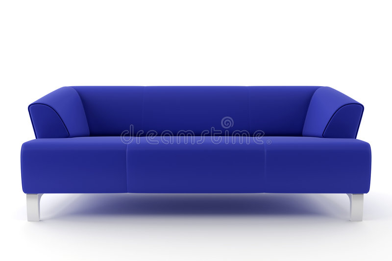 sofa 3d bleu d'isolement illustration stock