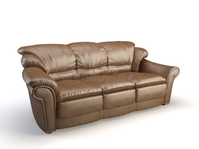 Sofa 3d en cuir illustration stock