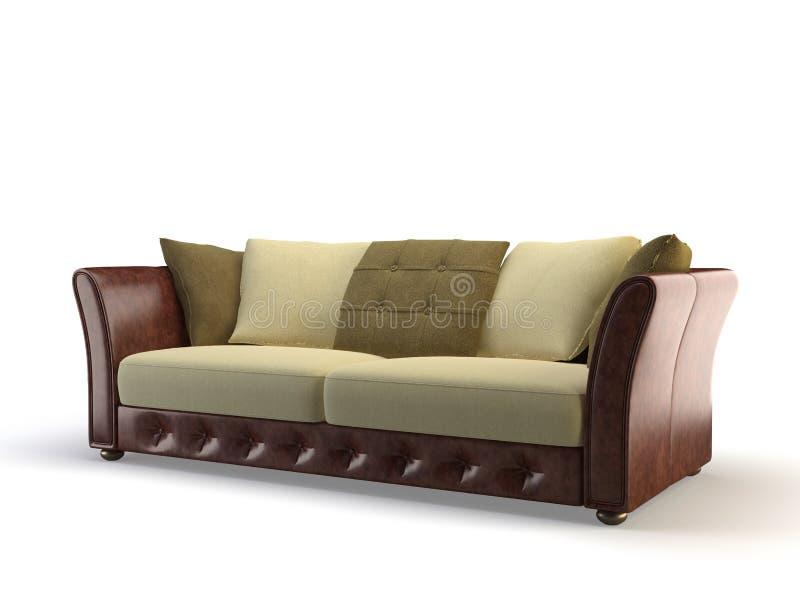 Sofa 3d en cuir illustration de vecteur