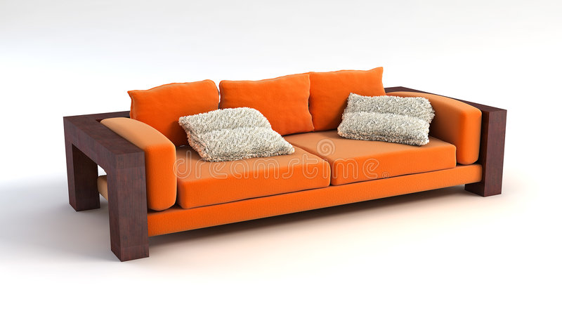 Sofa 3D rendering royalty free illustration