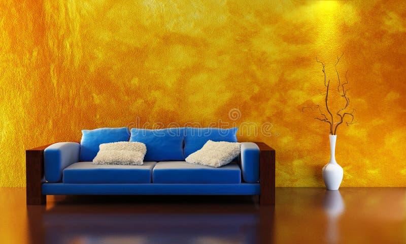 Sofa 3D rendering. Modern sofa 3D computer rendering vector illustration