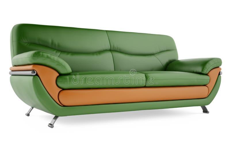 sofa 3D vert sur un fond blanc images stock