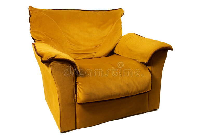 Sofa. Single sofa isolated on white background, front view royalty free stock image