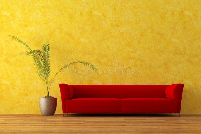 Sofa. Modern red sofa with palm tree stock image