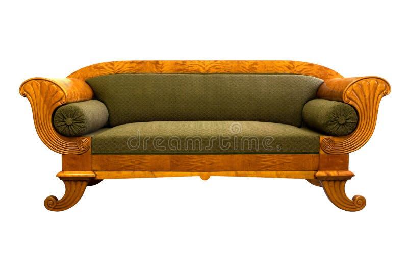 Sofa antique de Biedermeier avec et découpage de woor photographie stock libre de droits
