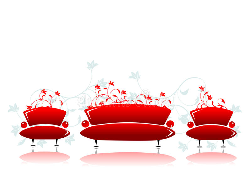 Download Sofa And Armchair Red Design Royalty Free Stock Photography - Image: 11261267
